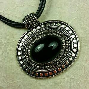 "Black Silver Pendant on Triple Black Leather 18"""